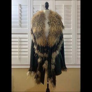 Sentini Paris Dark Brown Fur Coat Sz L
